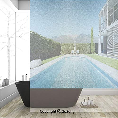(3D Decorative Privacy Window Films,Modern Villa with Pool view from the Garden Real Estate Contemporary Property,No-Glue Self Static Cling Glass film for Home Bedroom Bathroom Kitchen Office 36x48 Inc)