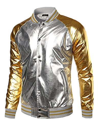 Coofandy Mens Metallic Nightclub Styles Zip Up Varsity Raglan Baseball Bomber Jacket,Silver,Large - Silver Jacket Costume