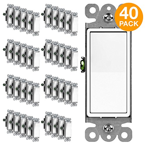 ENERLITES 3-Way Decorator Paddle Rocker Light Switch, Single Pole or Three Way, 3 Wire, Grounding Screw, Residential Grade, 15A 120V/277V, UL Listed, 93150-W-40PCS, White (40 Pack)