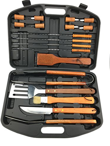 Ospard Wood Handle Stainless Steel 18 PCs Grill Tools - Of List Barbecue Sauces