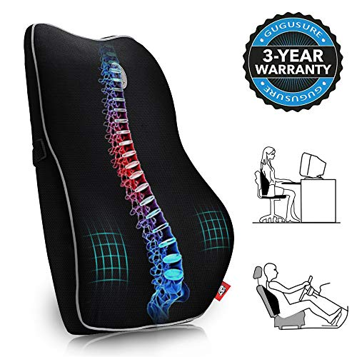 Memory Foam Lumbar Support Pillow, Gugusure Breathable Mesh Back Cushion with Ergonomic Designed for low Back Pain Relief, Orthopedic Backrest for Car Seat, Office Chair, Wheelchair and Recliner (Chair Cushion Contour)