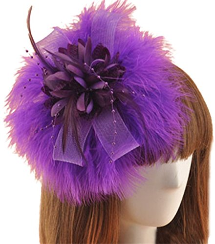 [Fascinator Hair Clip Feather Headpiece Cocktail Party Wedding Hair Accessories (Purple)] (Cosplay Costume Making)