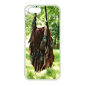 Perfect fitting cover protects your iPhone 5, White case protect your iPhone 5 with peacock feathers