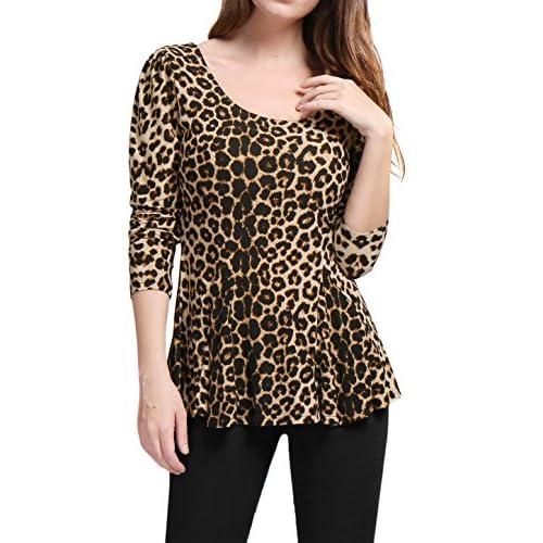 6fe4ea9d60df41 Allegra K Women's Long Sleeves Scoop Neck Leopard Prints Peplum Shirt