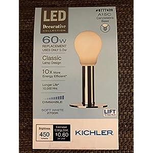 Kichler (2) x 1-Pack Kichler Frosted Globe 60W Equivalent 5w Dimmable a15 Vintage LED Decorative Light Bulb Candelabra Base Light Bulb