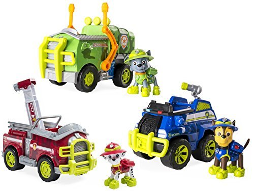 Paw Patrol Jungle Rescue Marshall, Chase, and Rocky's Jungle Truck, Bundle