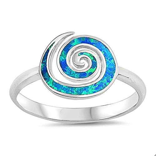 Sterling Silver Lab Created Blue Opal Spiral Trendy Design Ring Sizes 9