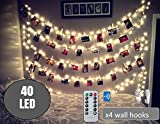 BestCircle 40 LED Photo Clip String Lights 20 Ft, Remote Control,USB Powered, Free Wall Hooks, Warm White, Timer, Christmas Card, Decoration, Wedding, Party, Christmas Lightings (2017 Version)