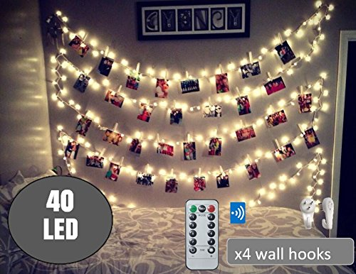 40 LED Photo Clip String Lights 20 Ft, Remote Control,USB Powered, Free Wall Hooks, Warm White, Timer , Christmas Card, Decoration, Wedding, Party, Christmas Lightings by BestCircle