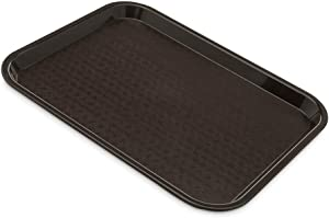 (6 Pack) Fast Food Tray 10 x 14 Brown Rectangular Polypropylene Serving Tray for Cafeteria, Diner, Restaurant, Food Courts