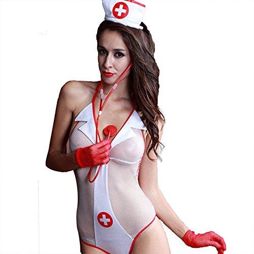 [TEMPT Women's Sexy Nurse Costume Sheer Fishnet Lingerie Bodysuit Nurse Outfit] (Plus Size Nurse Outfit)