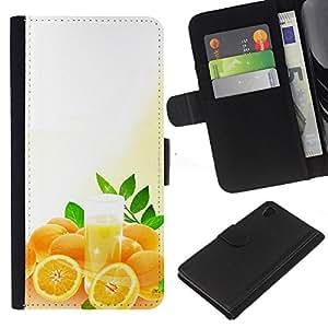 Ihec-Tech / Flip PU Cuero Cover Case para Sony Xperia Z4 - Fruit Macro Oranges