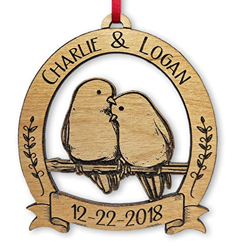 Newlywed Christmas Ornament Lovebirds Personalized Heart Tree Trunk Design Mr Mrs Wedding Date Name Engraved Couples Our First for Him Her Engagement Together (Cute) (Couple Bird)