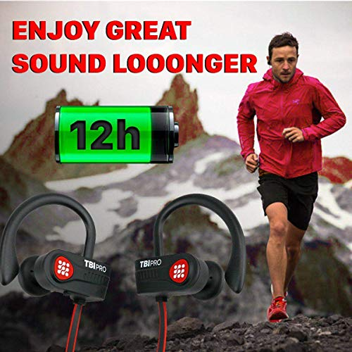 Bluetooth Headphones 10+ Hours Playtime – Lightweight HD Stereo Wireless Sport Earphones w/Noise Cancelling Mic – Rich…