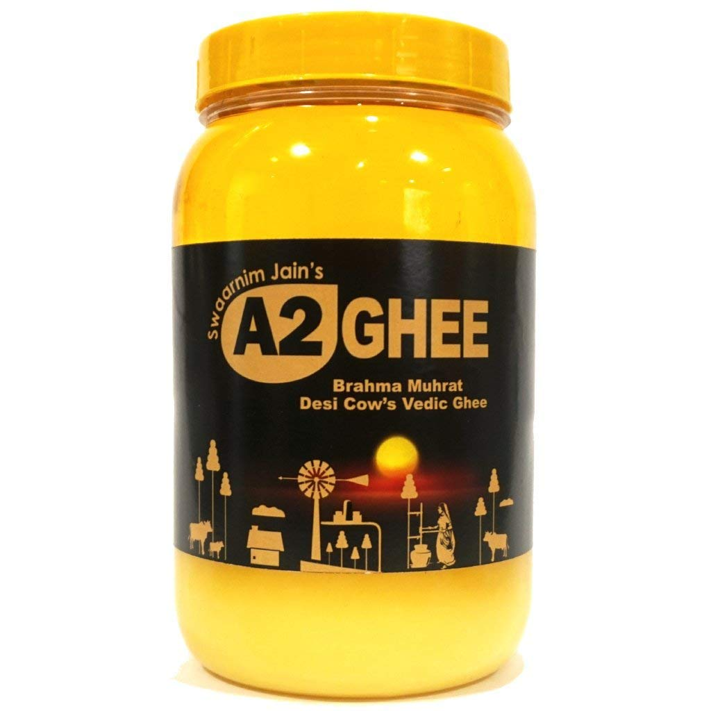 Natural Vedic Ghee - 33.81oz Swaarnim Jains' A2 Brahma Muhurta Ghee 1000ml - Probiotic Properties - 0% Trans Fat - Grass-Fed - Non-GMO - Made in Brahma Muhurta - Pure & Purifying …