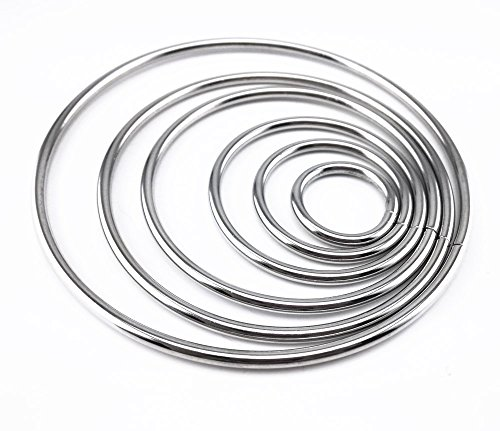 Honbay 6pcs Different Size Metal Rings Hoops for Dream Catcher and Crafts