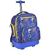 Pacific Gear Treasureland Polycarbonate Molded Ultralight Rolling and Shoulder Backpack, Football  (19-Inch)