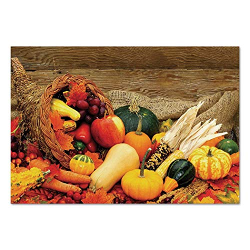 Funky Wall Mural Sticker [ Harvest,Thanksgiving Related Foods Scattered on Wooden Table Vegetables Fruits Decorative,Vermilion Brown Green ] Self-adhesive Vinyl Wallpaper / Removable Modern Decorating -