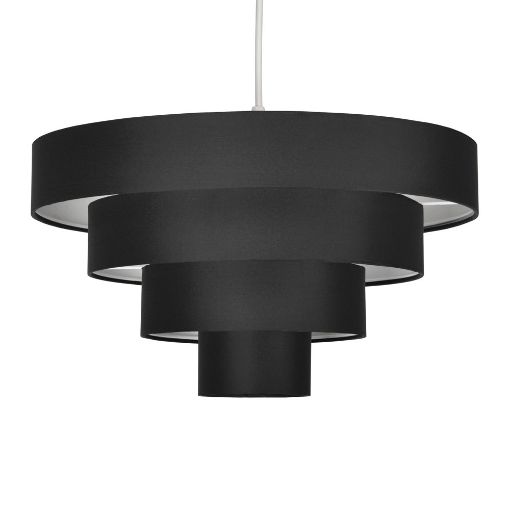 Beautiful modern 4 tier black fabric ceiling designer pendant lamp beautiful modern 4 tier black fabric ceiling designer pendant lamp light shade amazon lighting aloadofball Image collections