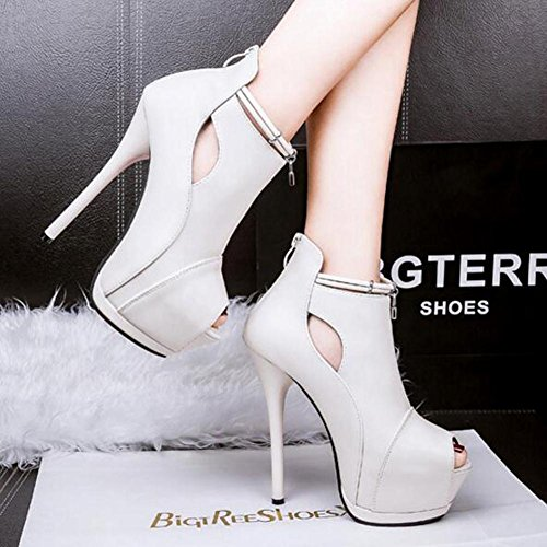 Mouth Fish White High Waterproof Platform Heels Hollow Fine Women 14cm Nightclub Sandals q8POfOz