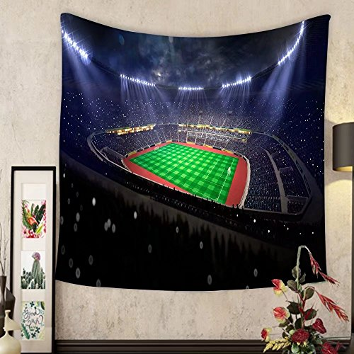 Lee S. Jones Custom tapestry soccer stadium in night blue toning by Lee S. Jones