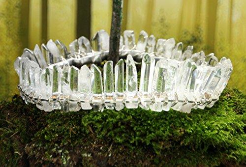 clear quartz crystal crown, silver circlet, crystal diadem, boho bridal halo headpiece, crystal moon hair accessories, celestial wedding by The Queen of Quartz