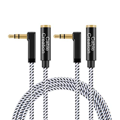 - CableCreation [2-Pack] 6 Feet 3.5mm Male to Female Extension Stereo Audio Extension Cable Adapter, 90 Degree Right Angle Aux Cable, Black and White