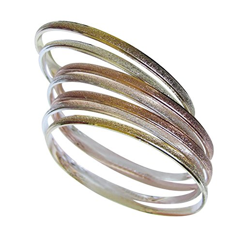 Semanario (7) Teen and Adult 14k Tri Color Gold Overlay Bangle Bracelets for Your Princess Different Sizes Available (SIZE 5) - 14k Tri Color Gold Bangle
