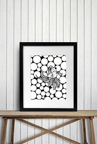 Bug Eyed Fish - Goldfish Inspired Ink Drawing - Art Print -