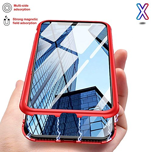 【TECHGLEE】 Magnetic Adsorption Case for iPhone X - Clear Tempered Glass Back [Metal Frames] Full Body Slim Fit Ultra-Thin Case, Luxury Transparent Magnet Case iPhone X/10 - New Ultra Protective Co