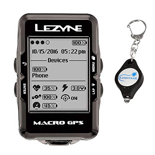 LEZYNE Macro GPS Cycling Computer Bundle Includes a Lumintrail Keychain Light