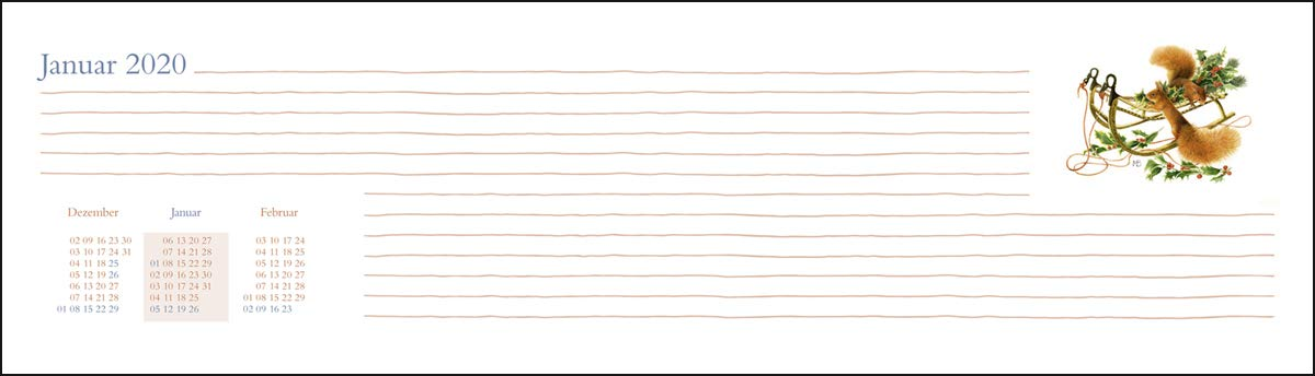 32,5 cm x 9,3 cm Marjolein Bastin Wochenquerplaner Kalender 2020 Tischkalender quer mit Schulferien Heye-Verlag