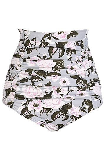 COCOPEAR Women's Ruched High Waisted Bikini Bottom Retro Vintage Swim Short Tankinis (FBA) Floral 42 XL/10-12