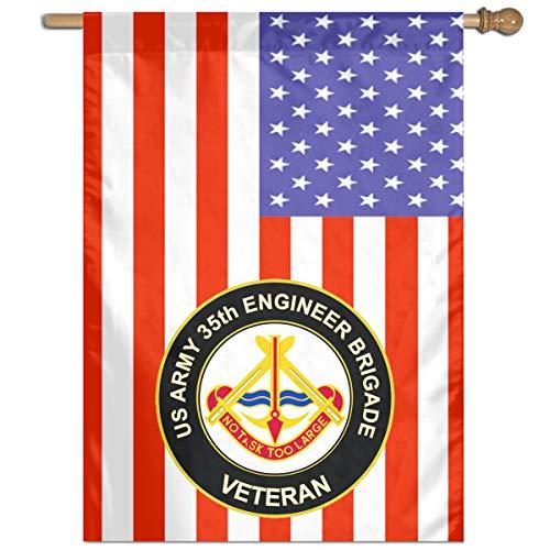 DAHWY U.S. Army 35th Engineer Brigade Unit Crest Veteran Garden Or Family Flag ()