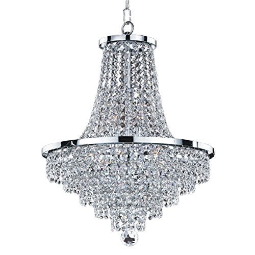 Glow Lighting 628AD16SP-7C Pendant with Crystal Shades, Silver Pearl -