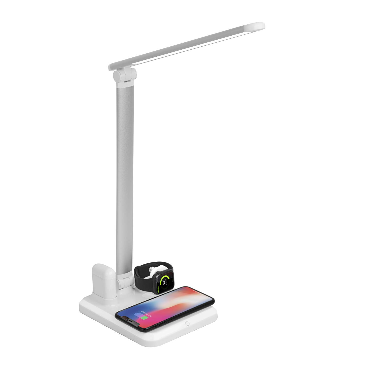 Trustown 4 in 1 Wireless Charger Stand LED Desk Lamp,USB Charging Port, Fast Wireless Charging Station Compatible with Apple Watch Airpods iPhone Xs Max/XR/X/8 Plus, Samsung S10+/S9+/S8/S7,(white)