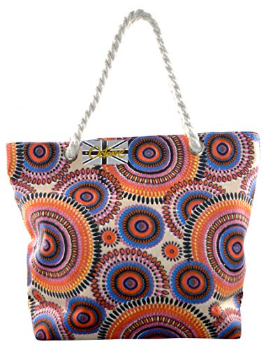OCTAVE Ladies Summer Beach Tote Handbags Collection - Various Styles & Colours Circles Design - Orange / Blue Circles