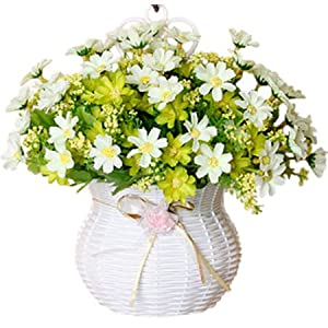 JAROWN Artificial Daisy Silk Flowers in Hanging Basket Container for Home Party Wedding Decoration(Green Daisy) 11