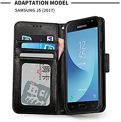IDOOLS Funda Samsung Galaxy J5 2017, Funda de Cuero para Teléfono con Ranura para Tarjeta, Cartera Carcasa Piel, Soporte para Teléfono Móvil - Negro