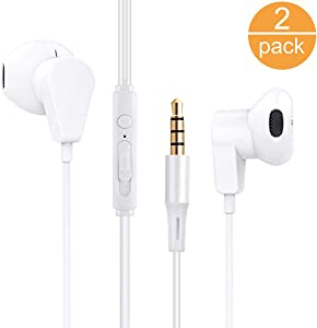 2 Pack Earphones with Microphone Volume Control, Wired Earbuds Headphones Headsets Noise Isolating Deep Bass 3.5mm Plug Compatible with Most Smartphones.Tablets.Laptops(White 2pack)