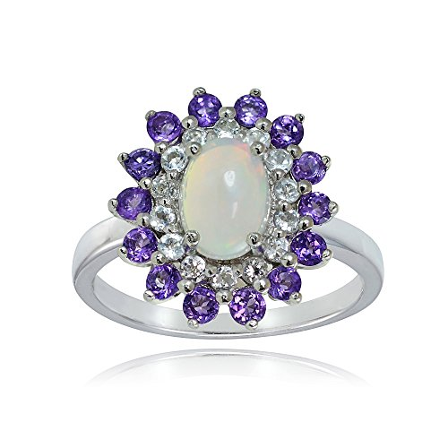 Sterling Silver Ethiopian Opal, African Amethyst and White Topaz Oval Flower Ring