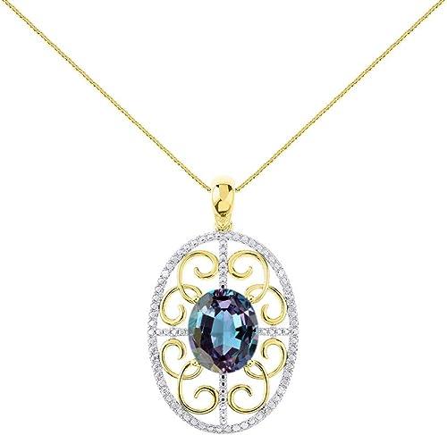 Women Stunning Princess Mystic Black Topaz Crystal Gold Silver Pendant Necklace