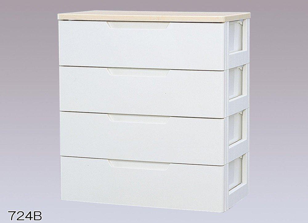 収納家具 4段 チェスト/収納ボックス リビング収納 最適 木天板付き チェスト!!!! クローゼット/押入れ収納 衣類収納 ホワイト/ペアー 4段 HG... B00YO5DZ3Q