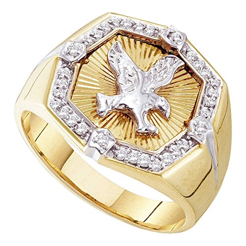 Mens Diamond Eagle Ring Solid 10k Yellow Gold Band Fashion Diamond Cut Polished Finish Fancy 1/4 ctw (10k Eagle Ring)