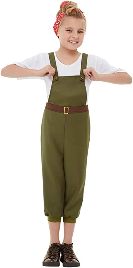 1940s Children's Clothing: Girls, Boys, Baby, Toddler Smiffys 50741L WW2 Little Land Girl Costume Green L - Age 10-12 years £14.46 AT vintagedancer.com