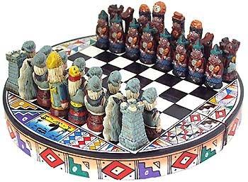 Round Chess Set Incas Vs Spanish Conquerors Peru Fair Trade (Historical Chess Set)
