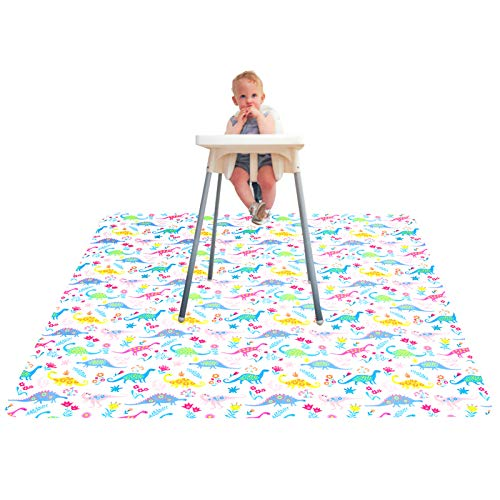"Paw Legend Washable Highchair Splat Floor Mat- Anti-Slip Silicone Spot Splash Mess Mat(53"" X 53"")-Food Catcher Art Craft Leak Proof Mat,Dinosaur"