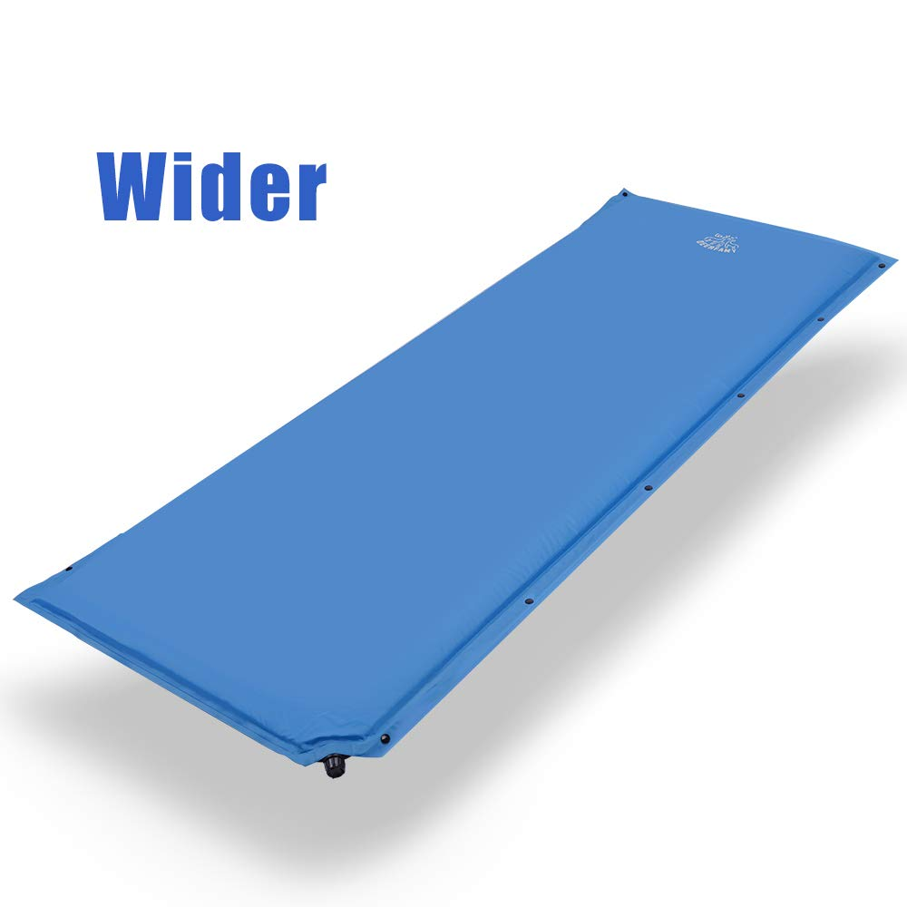 DEERFAMY Wider Self Inflating Sleeping Pad, 27 Inch Super Wide Self-Inflating Camping Foam Pads, 73 x 27 x 1.5 Inch Large Comfortable for Side Sleeper, Connectable for Family Camping, Blue (Blue) by DEERFAMY
