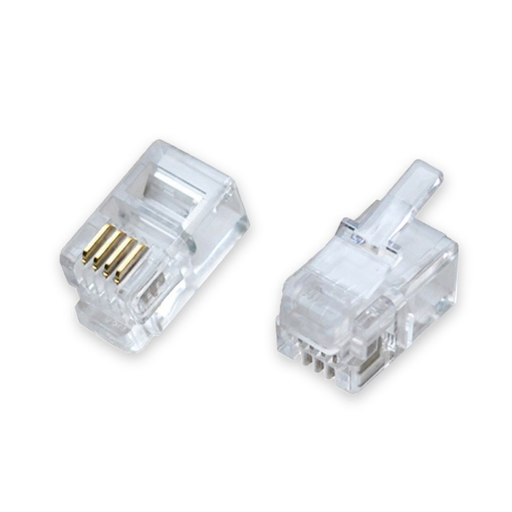 DCFun RJ9 Modular Phone Headset Connector, 4P4C Plug Jack Crimp for RJ9/RJ10/RJ22 Telephone Flat Cable/Cord Handset - 200 Pack