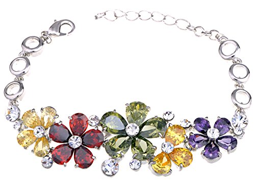 (Alilang Multicoloured Garden Bursting Fun Swarovski Crystal Element Bracelet Bangle)